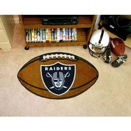 "Click here to learn more about the Oakland Raiders Football Rug 20.5""x32.5""."