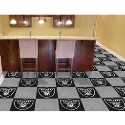 "Click here to learn more about the Oakland Raiders Carpet Tiles 18""x18"" tiles."