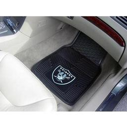 "Click here to learn more about the Oakland Raiders Heavy Duty 2-Piece Vinyl Car Mats 17""x27""."