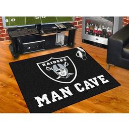 "Click here to learn more about the Oakland Raiders Man Cave All-Star Mat 33.75""x42.5""."