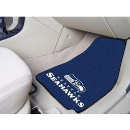 "Click here to learn more about the Seattle Seahawks 2-piece Carpeted Car Mats 17""x27""."