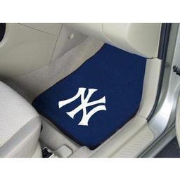 "Click here to learn more about the New York Yankees 2-piece Carpeted Car Mats 17""x27""."