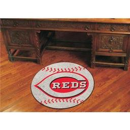 "Click here to learn more about the Cincinnati Reds Baseball Mat 27"" diameter."