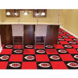 "Click here to learn more about the Cincinnati Reds Carpet Tiles 18""x18"" tiles."