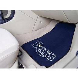 "Click here to learn more about the Tampa Bay Rays 2-piece Carpeted Car Mats 17""x27""."