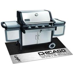 "Click here to learn more about the Chicago White Sox Grill Mat 26""x42""."