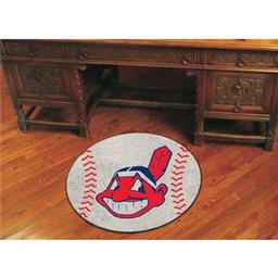 "Click here to learn more about the Cleveland Indians Baseball Mat 27"" diameter."