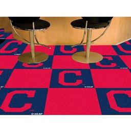 "Click here to learn more about the Cleveland Indians ""Block-C"" Carpet Tiles 18""x18"" tiles."
