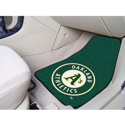 "Click here to learn more about the Oakland Athletics 2-piece Carpeted Car Mats 17""x27""."