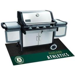 "Click here to learn more about the Oakland Athletics Grill Mat 26""x42""."
