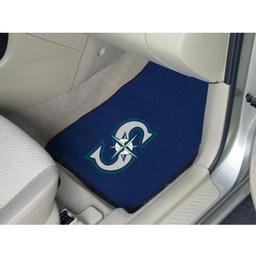 "Click here to learn more about the Seattle Mariners 2-piece Carpeted Car Mats 17""x27""."