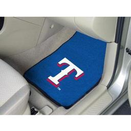"Click here to learn more about the Texas Rangers 2-piece Carpeted Car Mats 17""x27""."