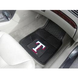 "Click here to learn more about the Texas Rangers Heavy Duty 2-Piece Vinyl Car Mats 17""x27""."