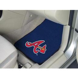 "Click here to learn more about the Atlanta Braves 2-piece Carpeted Car Mats 17""x27""."