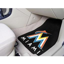 "Click here to learn more about the Miami Marlins 2-piece Carpeted Car Mats 17""x27""."