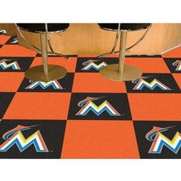 "Click here to learn more about the Miami Marlins Carpet Tiles 18""x18"" tiles."