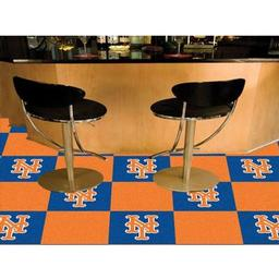 "Click here to learn more about the New York Mets Carpet Tiles 18""x18"" tiles."