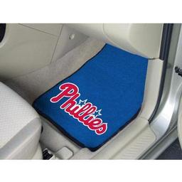 "Click here to learn more about the Philadelphia Phillies 2-piece Carpeted Car Mats 17""x27""."
