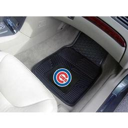 "Click here to learn more about the Chicago Cubs Heavy Duty 2-Piece Vinyl Car Mats 17""x27""."