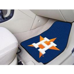 "Click here to learn more about the Houston Astros 2-piece Carpeted Car Mats 17""x27""."
