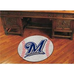"Click here to learn more about the Milwaukee Brewers Baseball Mat 27"" diameter."