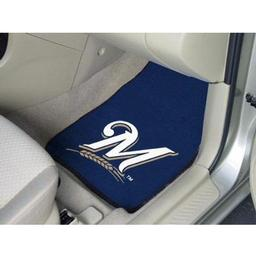 "Click here to learn more about the Milwaukee Brewers 2-piece Carpeted Car Mats 17""x27""."