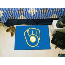 "Click here to learn more about the Milwaukee Brewers ""Ball in Glove"" Starter Rug 20""x30""."