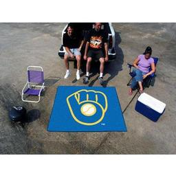"Click here to learn more about the Milwaukee Brewers ""Ball in Glove"" Tailgater Rug 5''x6''."