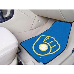 "Click here to learn more about the Milwaukee Brewers ""Ball in Glove"" 2-piece Carpeted Car Mats 17""x27""."