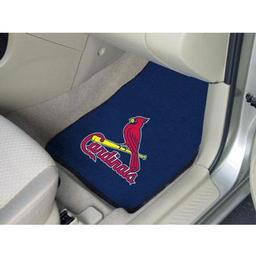 "Click here to learn more about the St. Louis Cardinals 2-piece Carpeted Car Mats 17""x27""."