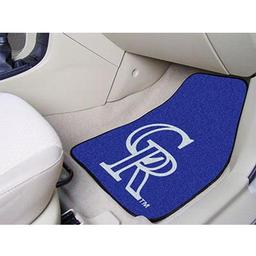 "Click here to learn more about the Colorado Rockies 2-piece Carpeted Car Mats 17""x27""."