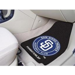 "Click here to learn more about the San Diego Padres 2-piece Carpeted Car Mats 17""x27""."