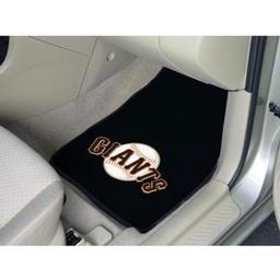 "Click here to learn more about the San Francisco Giants 2-piece Carpeted Car Mats 17""x27""."