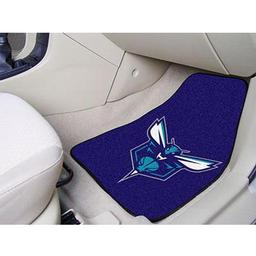 "Click here to learn more about the Charlotte Hornets 2-piece Carpeted Car Mats 17""x27""."