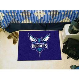 "Click here to learn more about the Charlotte Hornets Starter Rug 19"" x 30""."