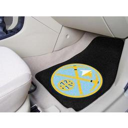 "Click here to learn more about the Denver Nuggets 2-piece Carpeted Car Mats 17""x27""."