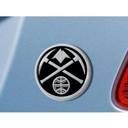 "Click here to learn more about the Denver Nuggets Emblem 3""x3.2""."