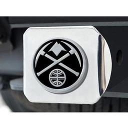 "Click here to learn more about the Denver Nuggets Hitch Cover 4 1/2""x3 3/8""."