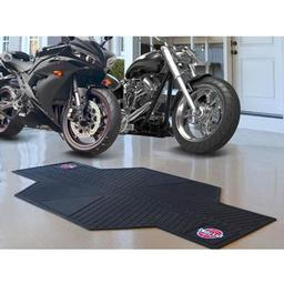 "Click here to learn more about the Detroit Pistons Motorcycle Mat 82.5"" L x 42"" W."