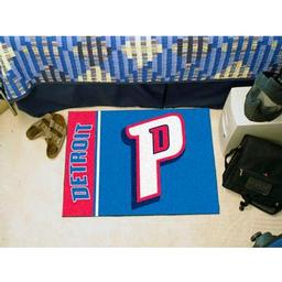 "Click here to learn more about the Detroit Pistons Uniform Inspired Starter Rug 19""x30""."