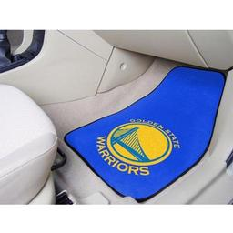 "Click here to learn more about the Golden State Warriors 2-piece Carpeted Car Mats 17""x27""."