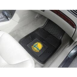 "Click here to learn more about the Golden State Warriors Heavy Duty 2-Piece Vinyl Car Mats 17""x27""."