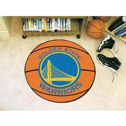 "Click here to learn more about the Golden State Warriors Basketball Mat 27"" diameter."