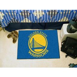 "Click here to learn more about the Golden State Warriors Starter Rug 19"" x 30""."
