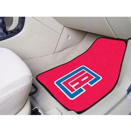 "Click here to learn more about the Los Angeles Clippers 2-piece Carpeted Car Mats 17""x27""."