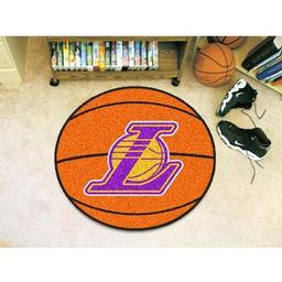 "Click here to learn more about the Los Angeles Lakers Basketball Mat 27"" diameter."