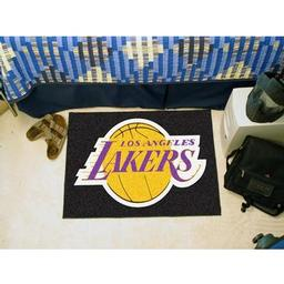 "Click here to learn more about the Los Angeles Lakers Starter Rug 19"" x 30""."