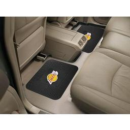 "Click here to learn more about the Los Angeles Lakers Backseat Utility Mats 2 Pack 14""x17""."