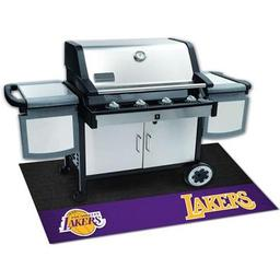 "Click here to learn more about the Los Angeles Lakers Grill Mat 26""x42""."