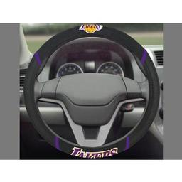 "Click here to learn more about the Los Angeles Lakers Steering Wheel Cover 15""x15""."